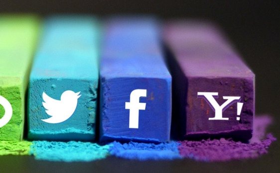 social media symbols on colourful chalk pieces